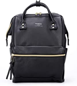 Kah&Kee Leather Backpack Diaper Bag with Laptop Compartment Travel School for Women Man (Black, Small)