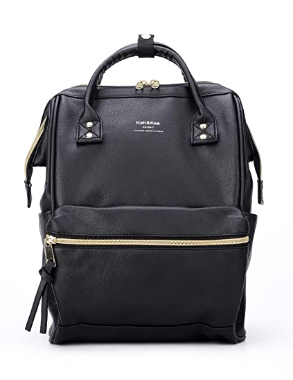 d29dba9141f Kah&Kee Leather Backpack Diaper Bag Laptop Travel School for Women Man  (Small, Black)