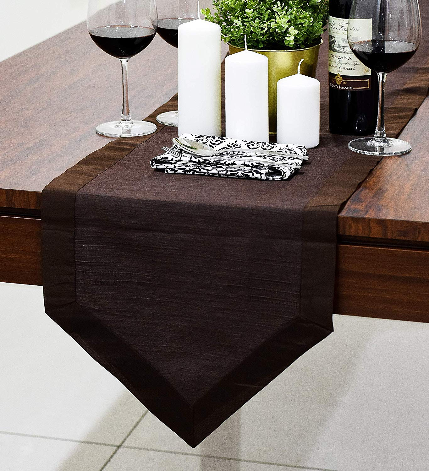 The White Petals Dark Brown Dresser Table Runners (Faux Silk, V-End Border, 14x36 inch, Pack of 1)