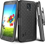 Galaxy S5 Case, TILL [Thin Design] Holster Locking Belt Swivel Clip Non-Slip Texture Hard Shell [Built-in Kickstand] Combo Case Defender Cover for Samsung Galaxy S5 S V I9600 GS5 2014 Release [Black]