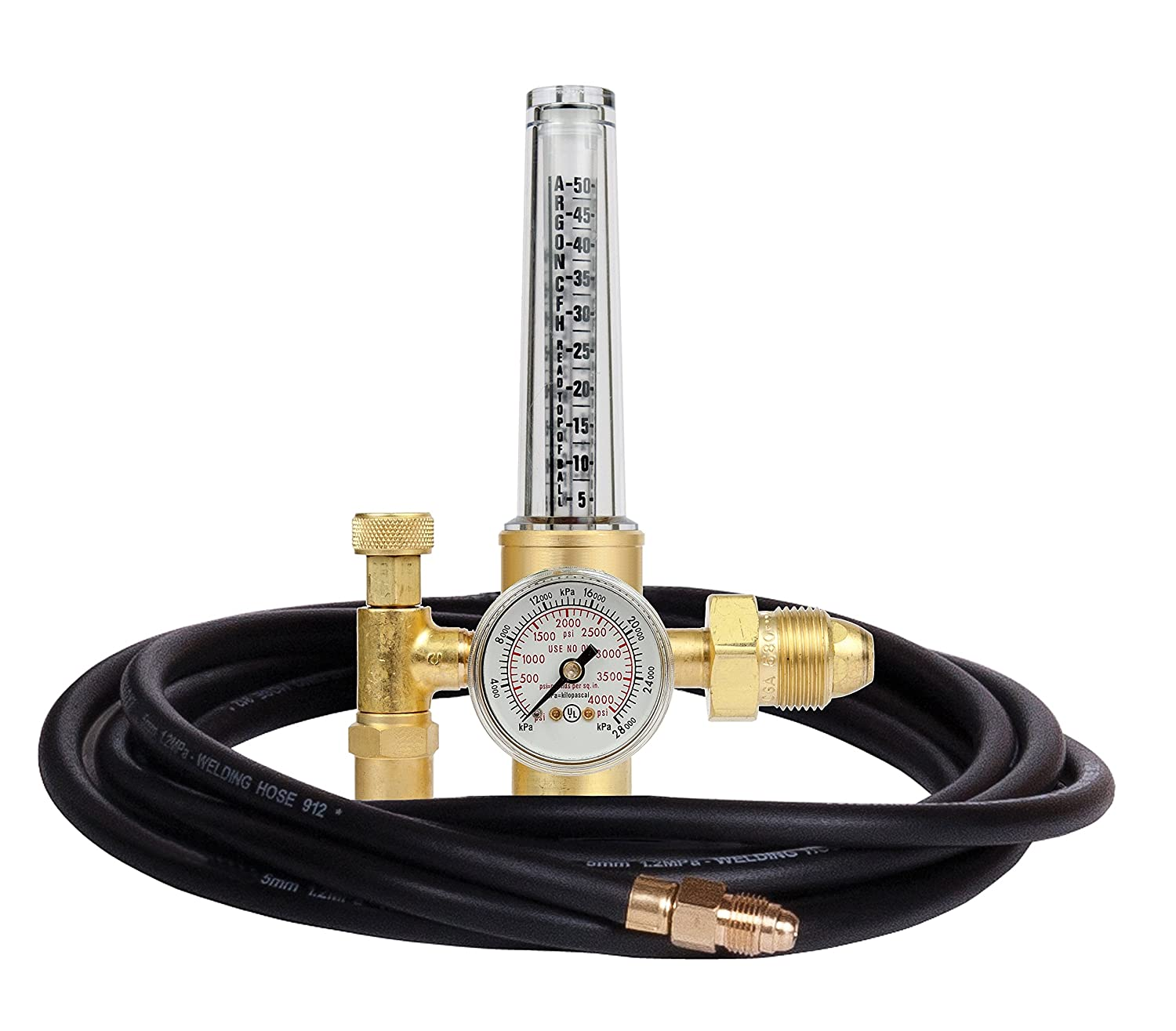 Victor Technologies 0781-2744 HRF-1480-580 Light Duty Flow Meter Cylinder Nitrogen/Argon/Helium Regulator with 10' Hose, 50-38 SCFH Flow Range, 80 psig Outlet Pressure