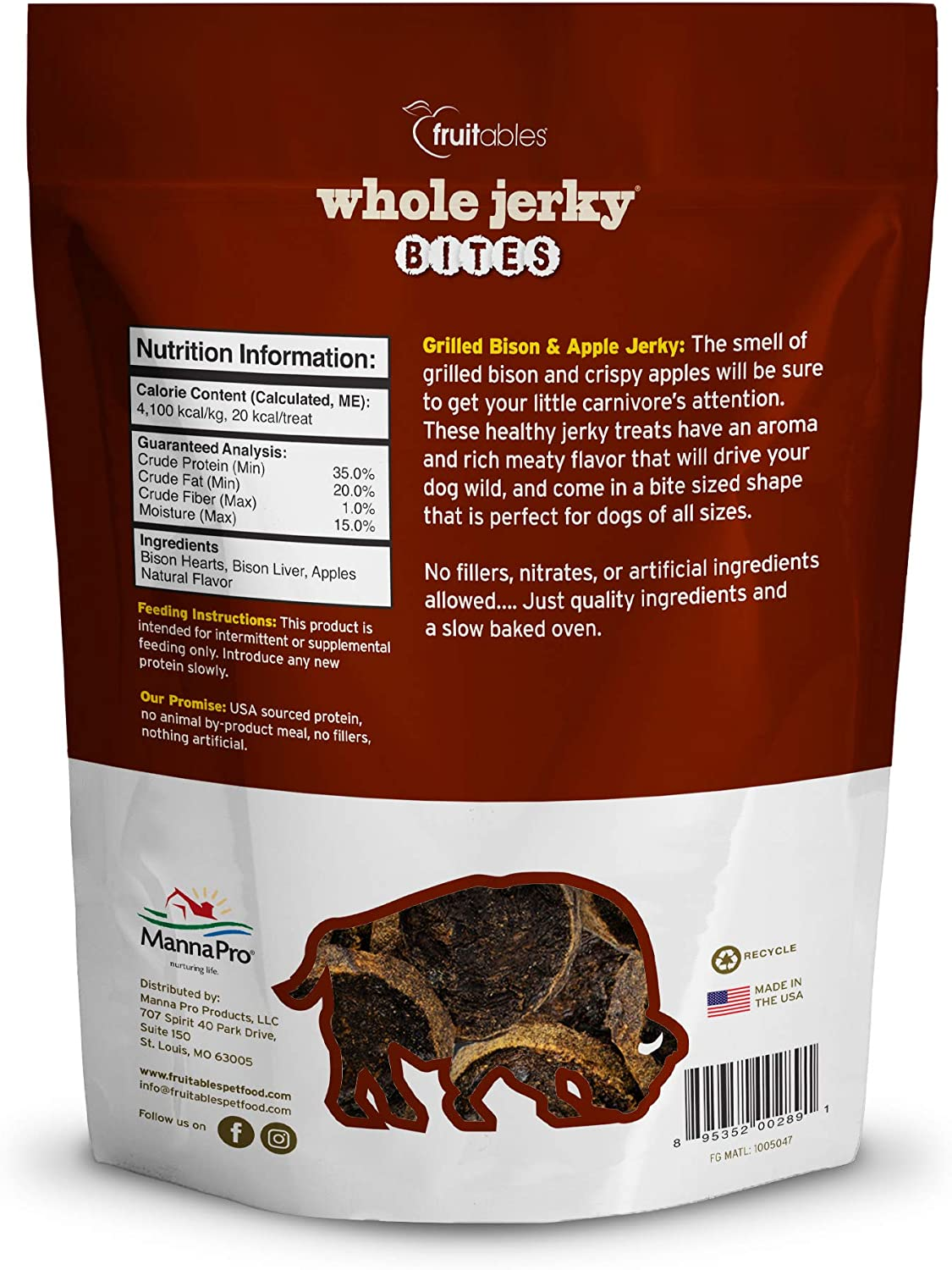 Fruitables Whole Jerky Bites Grilled Bison and Apple 5 Ounce