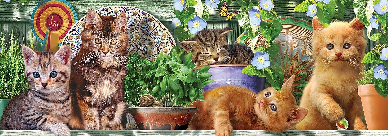 Ceaco Long Shots Kitten Garden Puzzle Panoramic