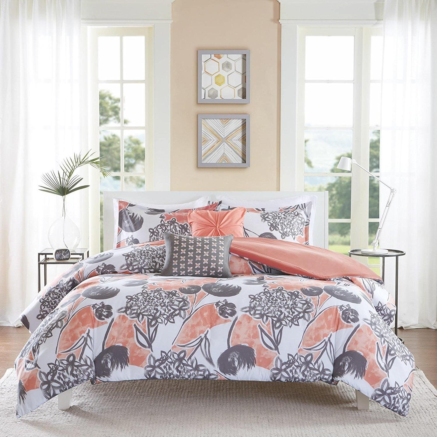DP 5pc Pink White Floral Full Queen Size Comforter Set, Flower Lily Themed Shabby Chic French Country Cottage Gorgeous Bedding, Vibrant Flowers Nature, Polyester