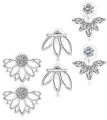 9414ed3136aba Jstyle 3 Pairs Lotus Flower Earrings Jackets For Women Girls Simple Chic  Ear Stud Earrings