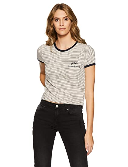 5aefaf2b61 Forever 21 Women s Plain Slim Fit Top  Amazon.in  Clothing   Accessories