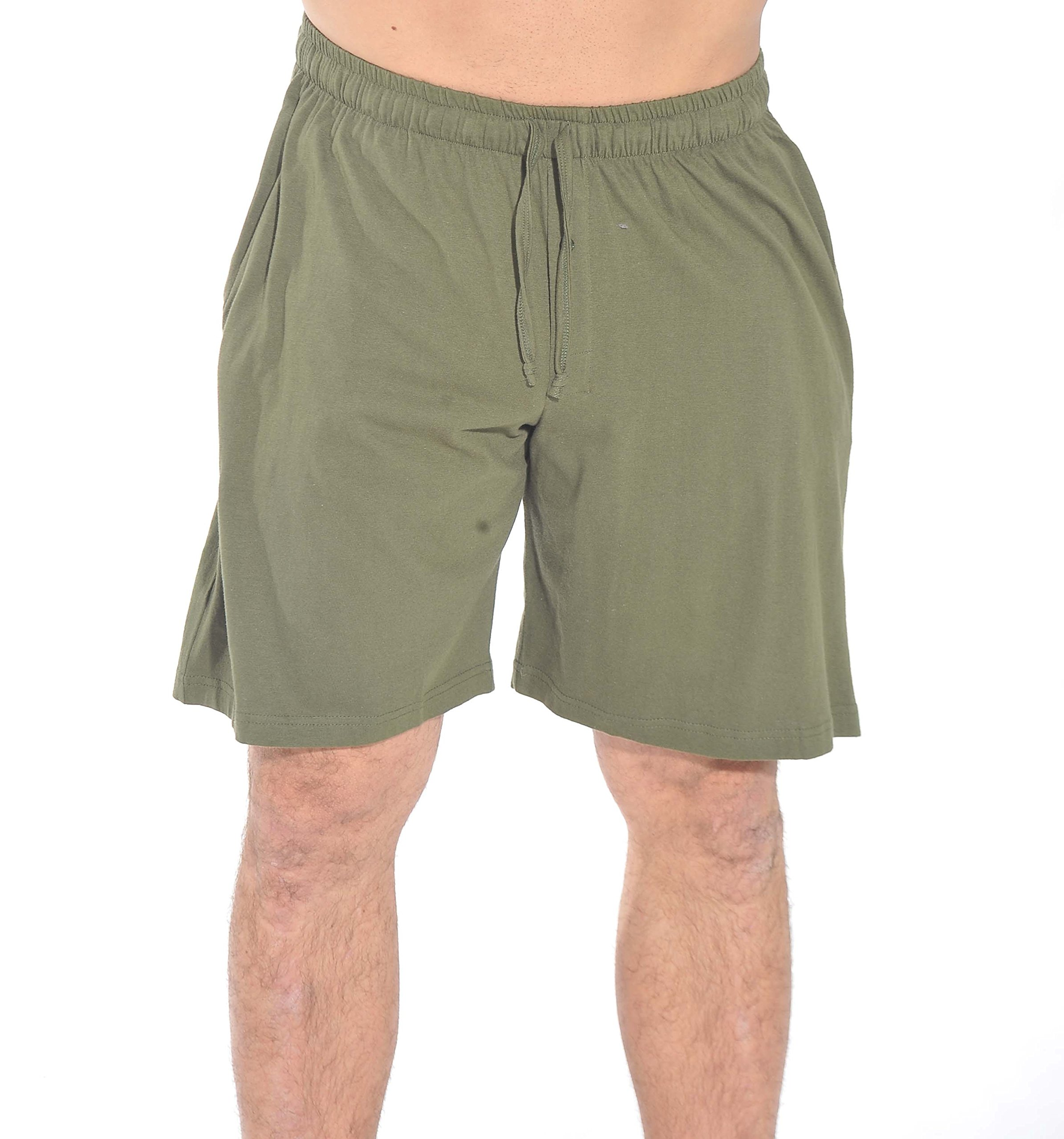 At The Buzzer 14501-Olive-M Men's Pajama Shorts/Sleepwear/PJS