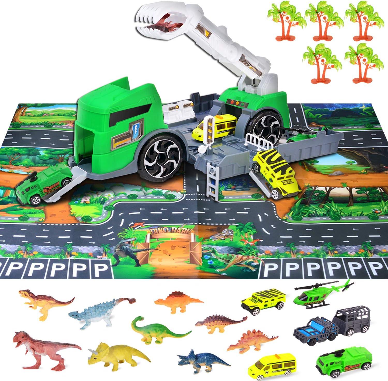 Juguetes Educativos Port/átiles para Ni/ños Pup Go Dinosaur Transport Carrier Truck Toy con 6 Mini Figuras de Dinosaurios de Pl/ástico Playset Ni/ños Mayores de 3 A/ños