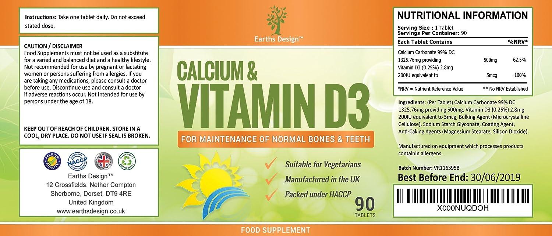 Suplemento de Calcio y Vitamina D3-500mg Calcio - Huesos Fuertes y Dientes Sanos - Para Hombres y Mujeres - Apto Para Vegetarianos - 90 Pastillas ...