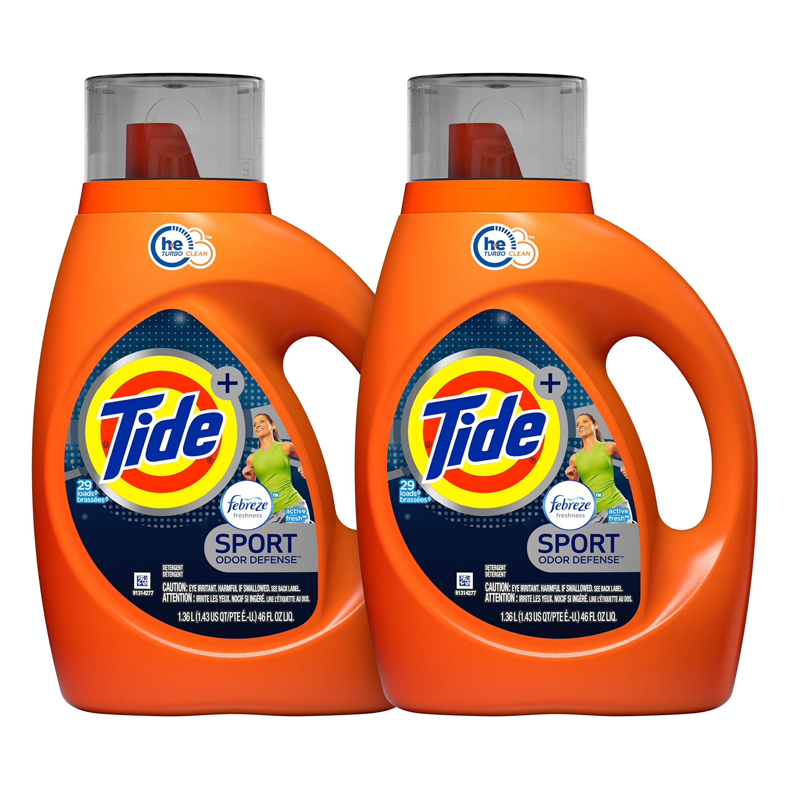 Tide Laundry Detergent Liquid Plus Febreze Sport Active Fresh Scent, HE Turbo Clean, 46 oz, 29 Loads - 2-pack (Packaging May Vary) by Tide