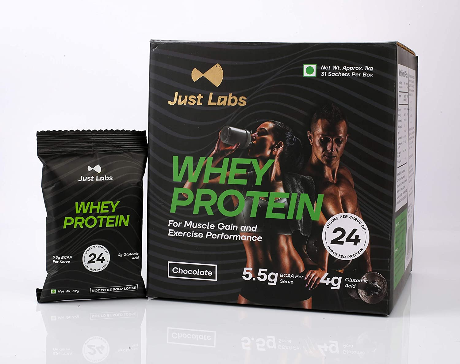 Just Labs 100% Whey Protein for Muscle Gain, Exercise Performance and Fat Loss - (1kg/2.2 lbs, 31 Single Serve No-Contact Sealed Pouches) Rich Chocolate (24g Protein per Serve)