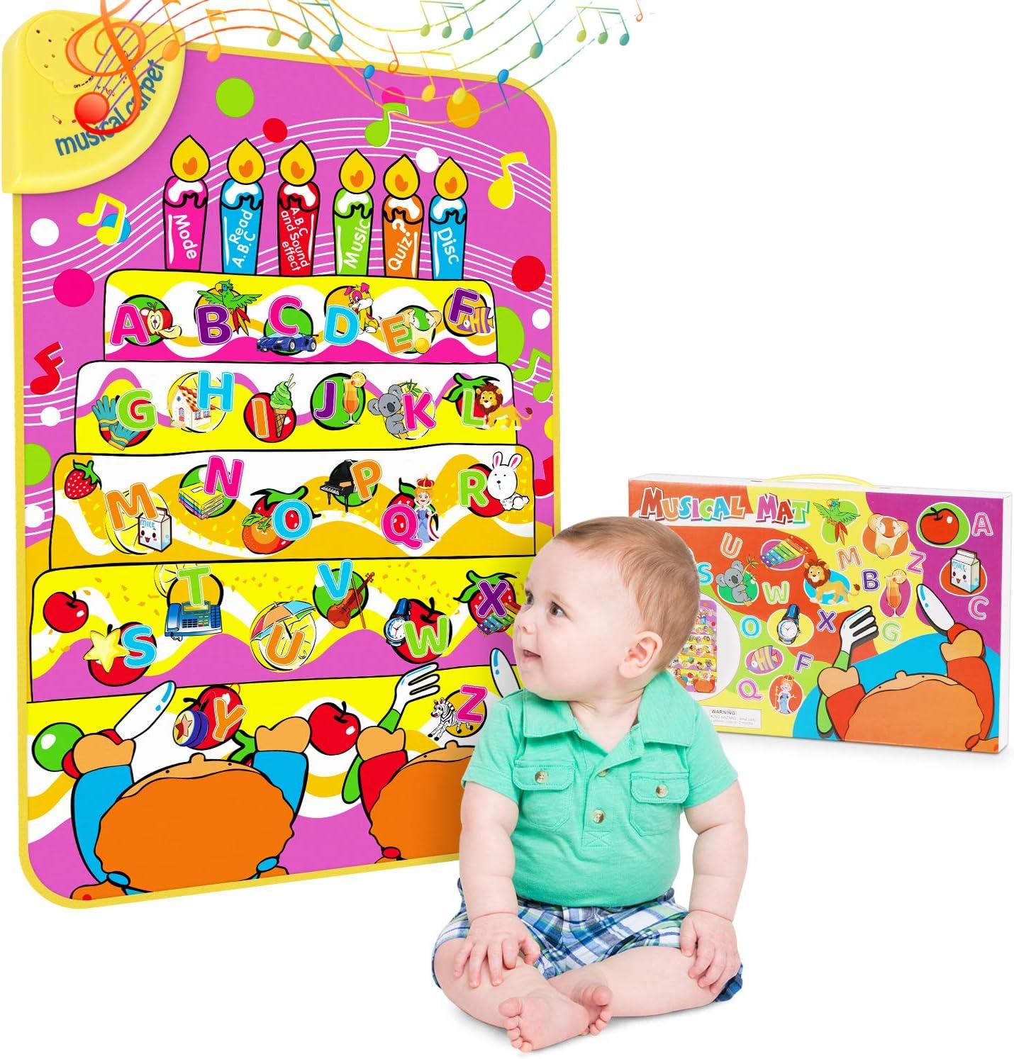 Magicfun Alfombrilla Musical, Divertidos Juguetes De Educación Temprana Letras Inglesas y Aprendizaje De Palabras, Juego táctil Interactivo de Aprendizaje para bebés, Libros De Sonido ABC
