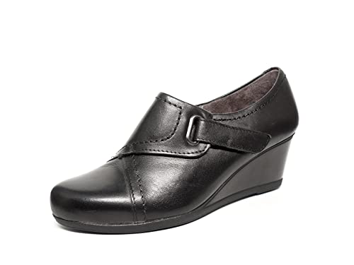 5a91deb513e0 Zapatos mujer abotinados PITILLOS - Piel color negro con cierre ...