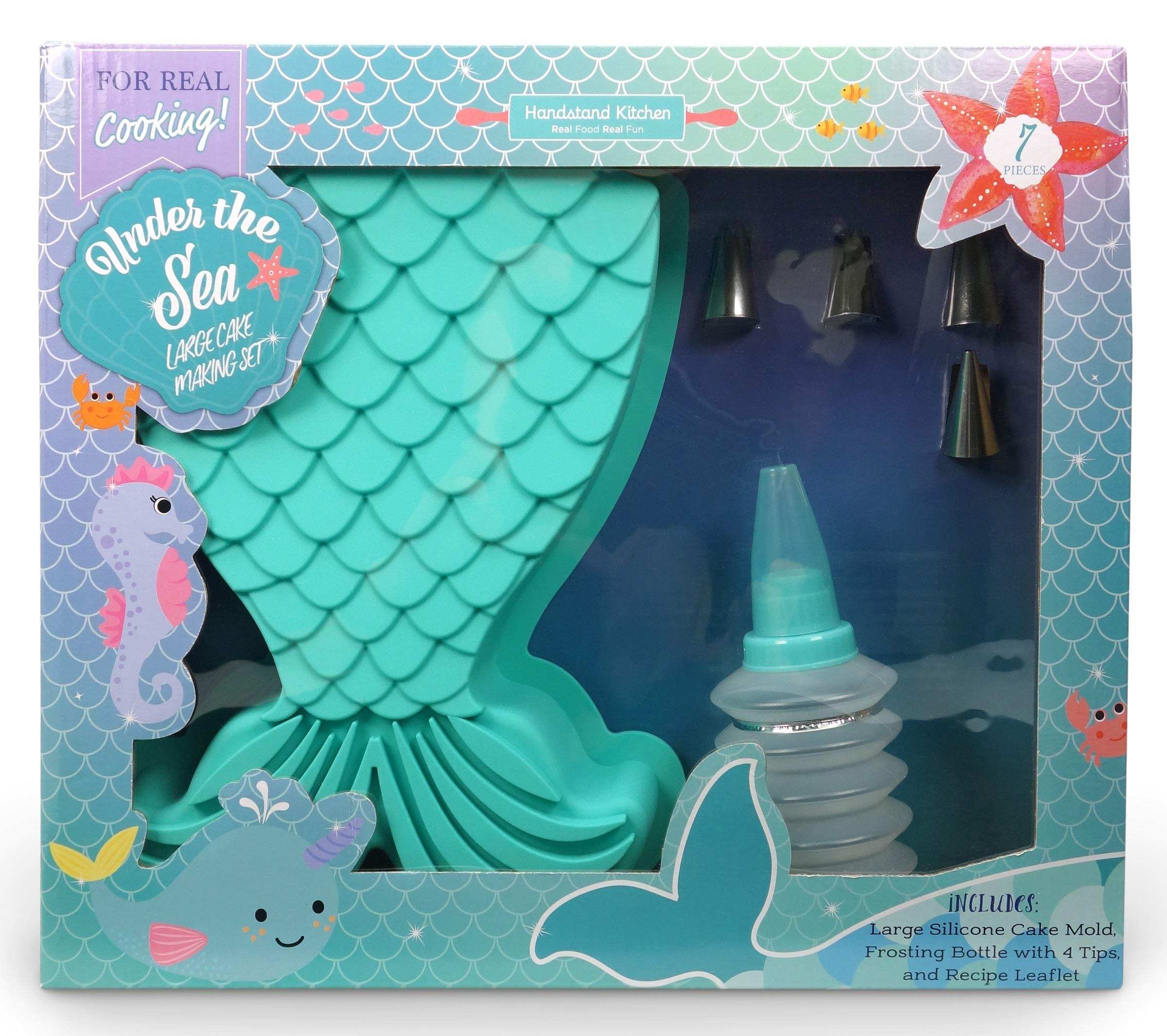 Handstand Kitchen Under the Sea 7-piece Mermaid Tail Shaped Real Cake Baking Set with Recipes for Kids