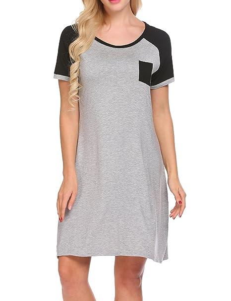 MAXMODA Women s Nightgown Modal Sleep Dress Short Sleeve Nightshirt  Sleepwear with Pocket S-XXL 38b1d7dfe