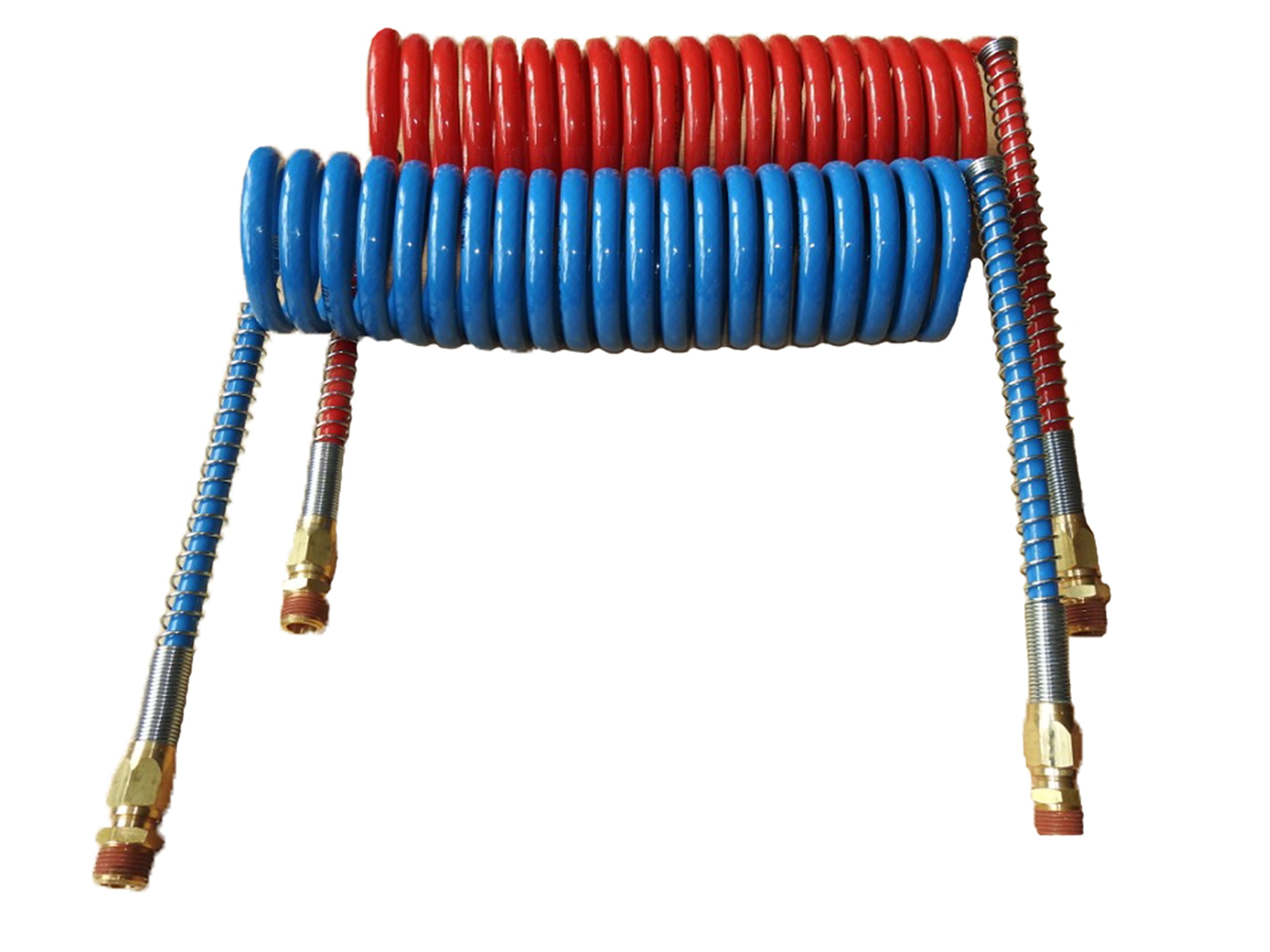 COILED AIR SET LINE ASSEMBLY RED & BLUE TRUCK TRAILER BRAKE COIL SET, 15' LENGTH; 2 X 12'' LEADS