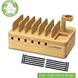 AVLT-Power Bamboo Charging Organizer Station Multi-device Charging Dock with Apple Watch Stand - 10 Free Velcro Straps Included - Charging Device NOT included - Eco-Friendly