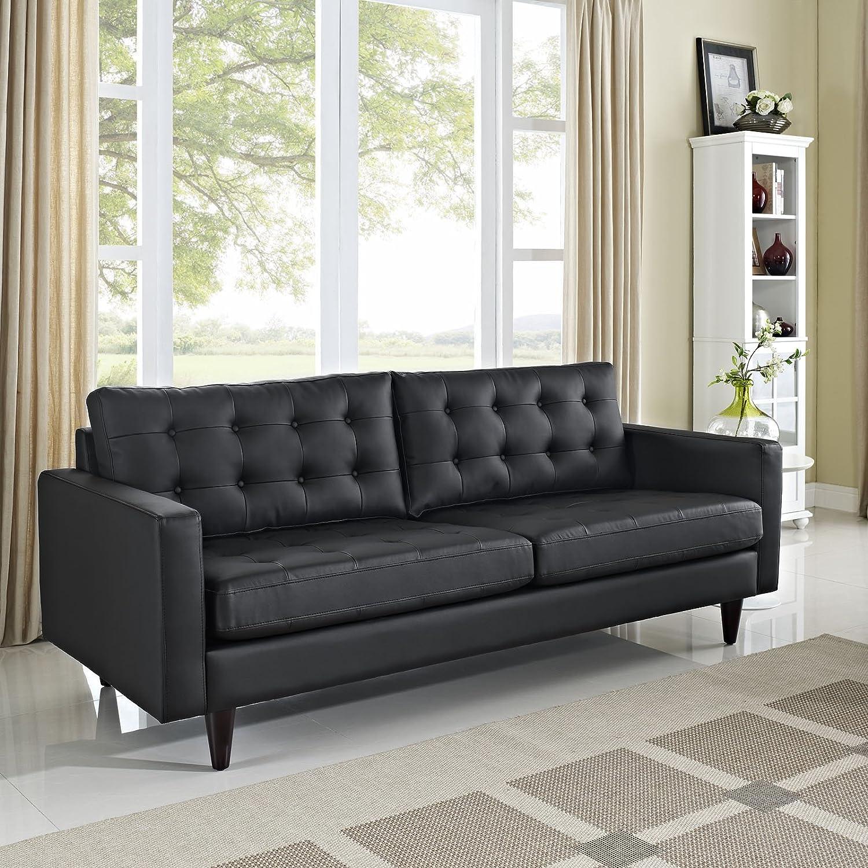 Amazon.com: Modway Empress Mid Century Modern Upholstered Leather Sofa In  Black: Kitchen U0026 Dining