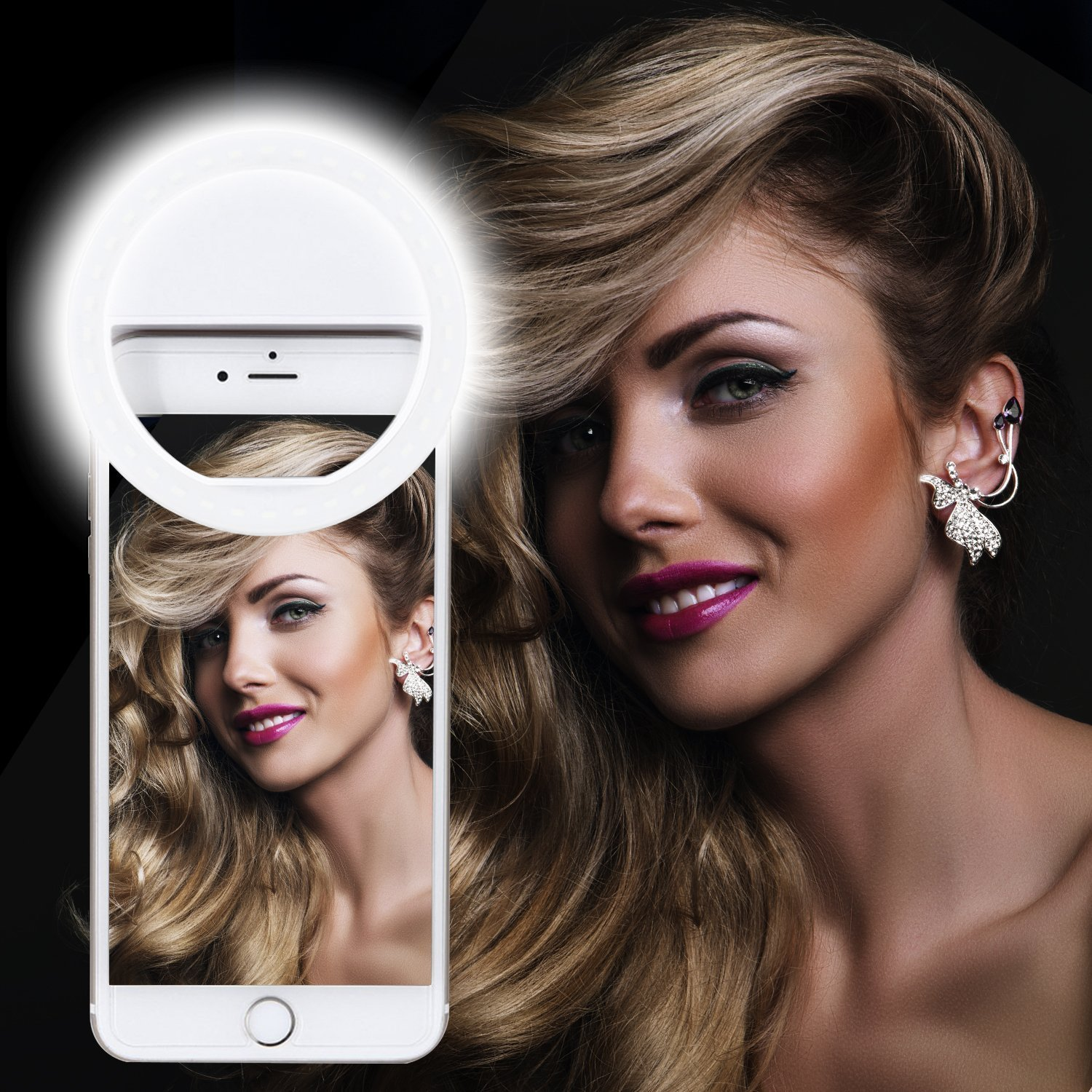 Selfie Ring Light, XINBAOHONG Rechargeable Portable Clip-on Selfie Fill Light with 36 LED for Smart Phone Photography, Camera Video, Girl Makes up (White, 36LED) by XINBAOHONG (Image #8)