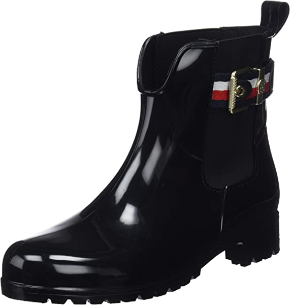 6db63b02bb204b Tommy Hilfiger Damen Corporate Belt RAIN Boot Gummistiefel Schwarz (Black  990) 38 EU