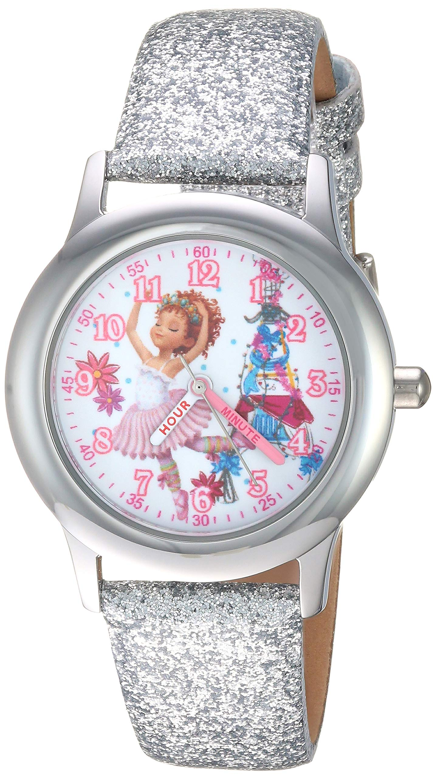 Disney Girls Fancy Nancy Stainless Steel Analog-Quartz Watch with Leather Strap, Silver, 13.5 (Model: WDS000599)