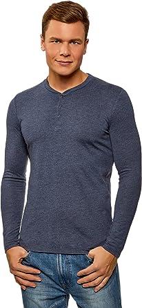 oodji Ultra Hombre Camiseta Henley de Algodón, Azul, ES 58-60 / XXL: Amazon.es: Ropa y accesorios