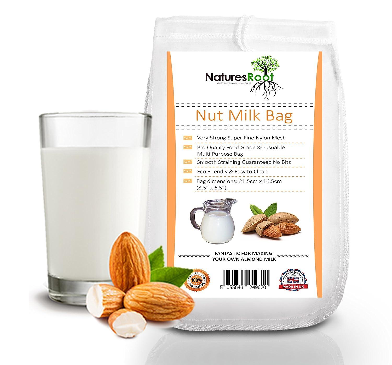 Natures Root Nut - Bolsa de leche de calidad comercial, bolsa de almendra reutilizable para alimentos, colador de alimentos, malla fina, nailon, ...