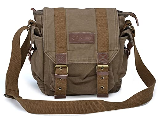 Amazon.com | Gootium 21217AMG Vintage Canvas Messenger Bag Small ...