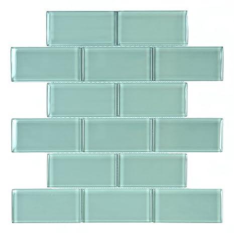 Bricks 2 X 4 Aqua Blue Teal Glossy Glass Subway Mosaic Backsplash