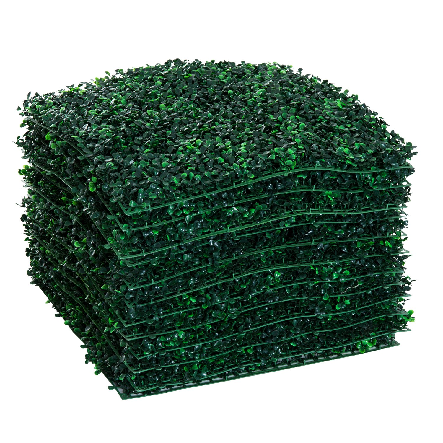 Outsunny 12 Piece 20''x 20'' Artificial Boxwood Hedge Mat Plant Panels - Boxwood
