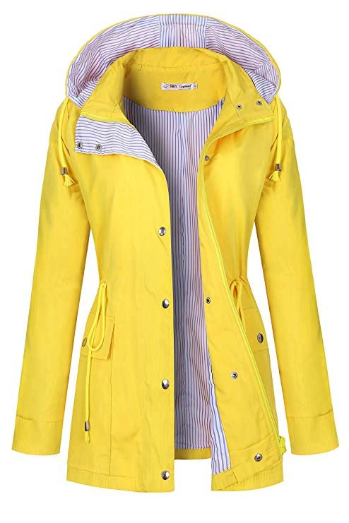 BBX Lephsnt Raincoat Women Waterproof Long Hooded Trench Coats Lined Windbreaker Travel Jacket Light Yellow best women's raincoats