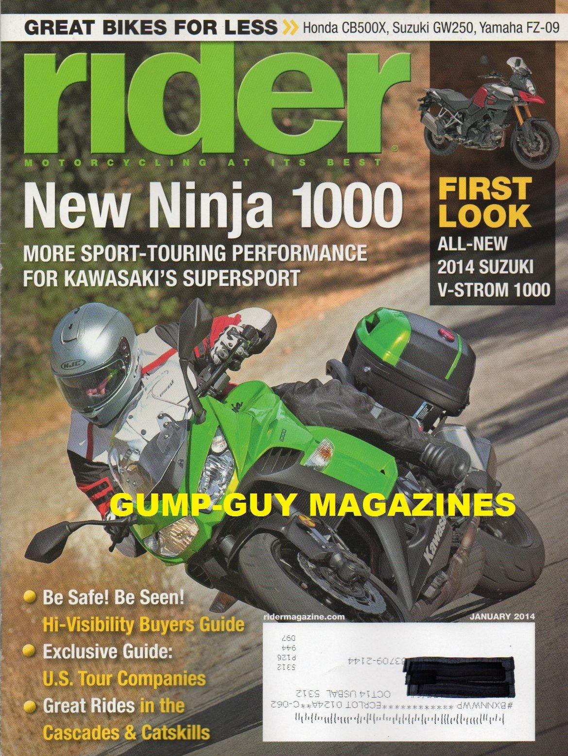 Download Rider Magazine January 2014 GREAT BIKES FOR LESS: HONDA CB500X, SUZUKI GW250 YAMAHA FZ-09 New Ninja 1000 More Sport-Touring Performance For Kawasaki's Supersport ALL-NEW SUZUKI V-STORM 1000 pdf