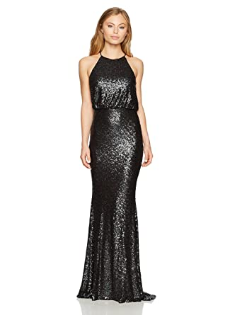 e6472886 Amazon.com: Badgley Mischka Women's Petite Sequin Halter Blouson Gown:  Clothing