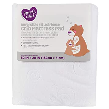 Amazon.com : Infant Reversible Fitted White Fleece Crib Mattress Pad Waterproof 52 x 28 : Baby
