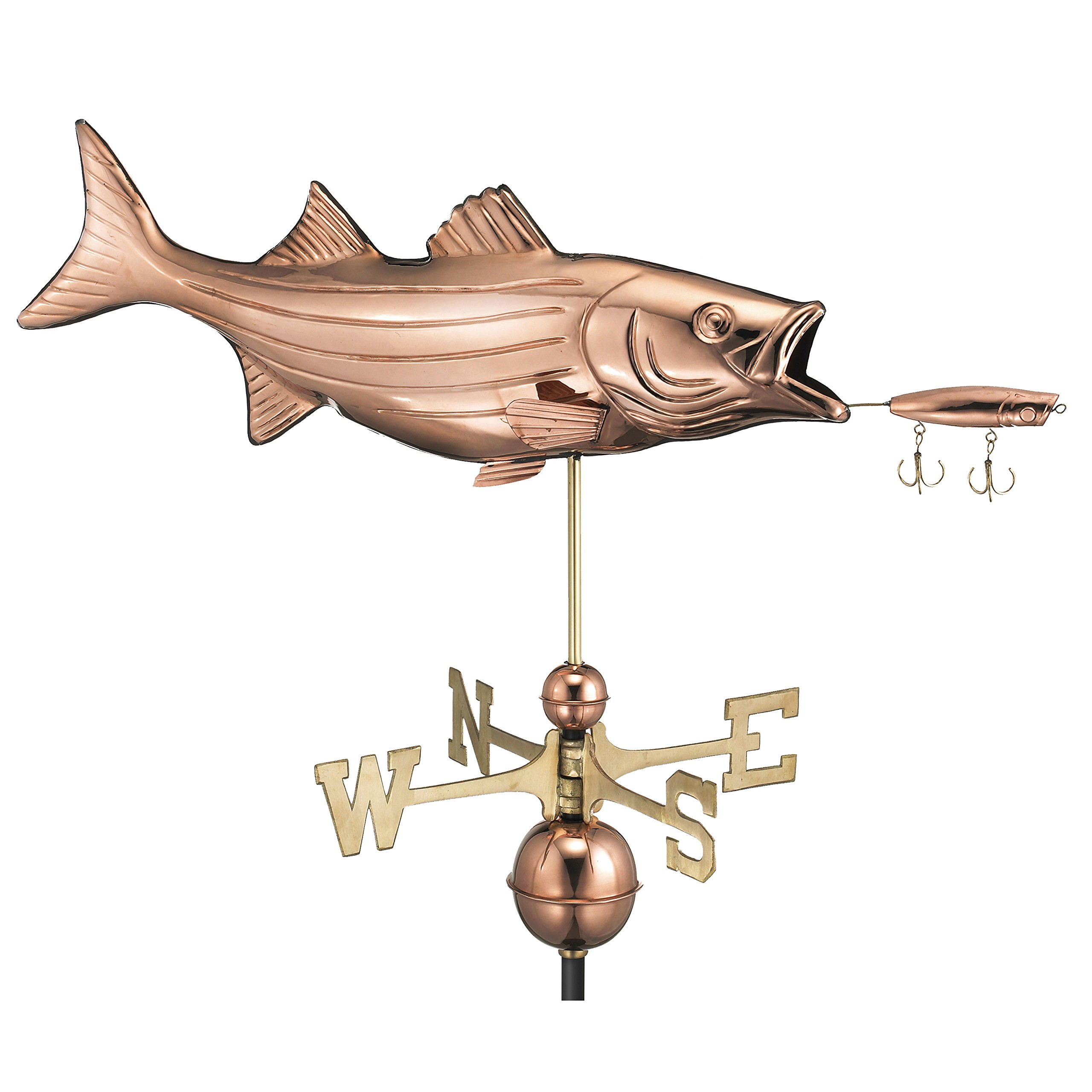 Good Directions Bass with Lure Weathervane, Pure Copper, Fish