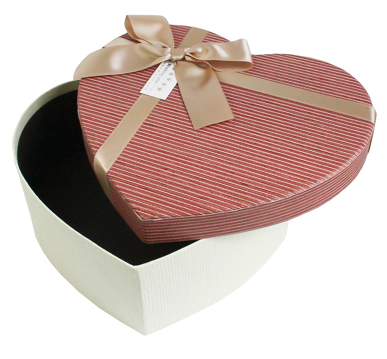 Rosa Innenraum und Wildleder-Zierband Creme Strukturierte Box Mit Lila Deckel Emartbuy Set Von 3 Starre Luxus Pr/äsentierte Geschenkbox in Herzform