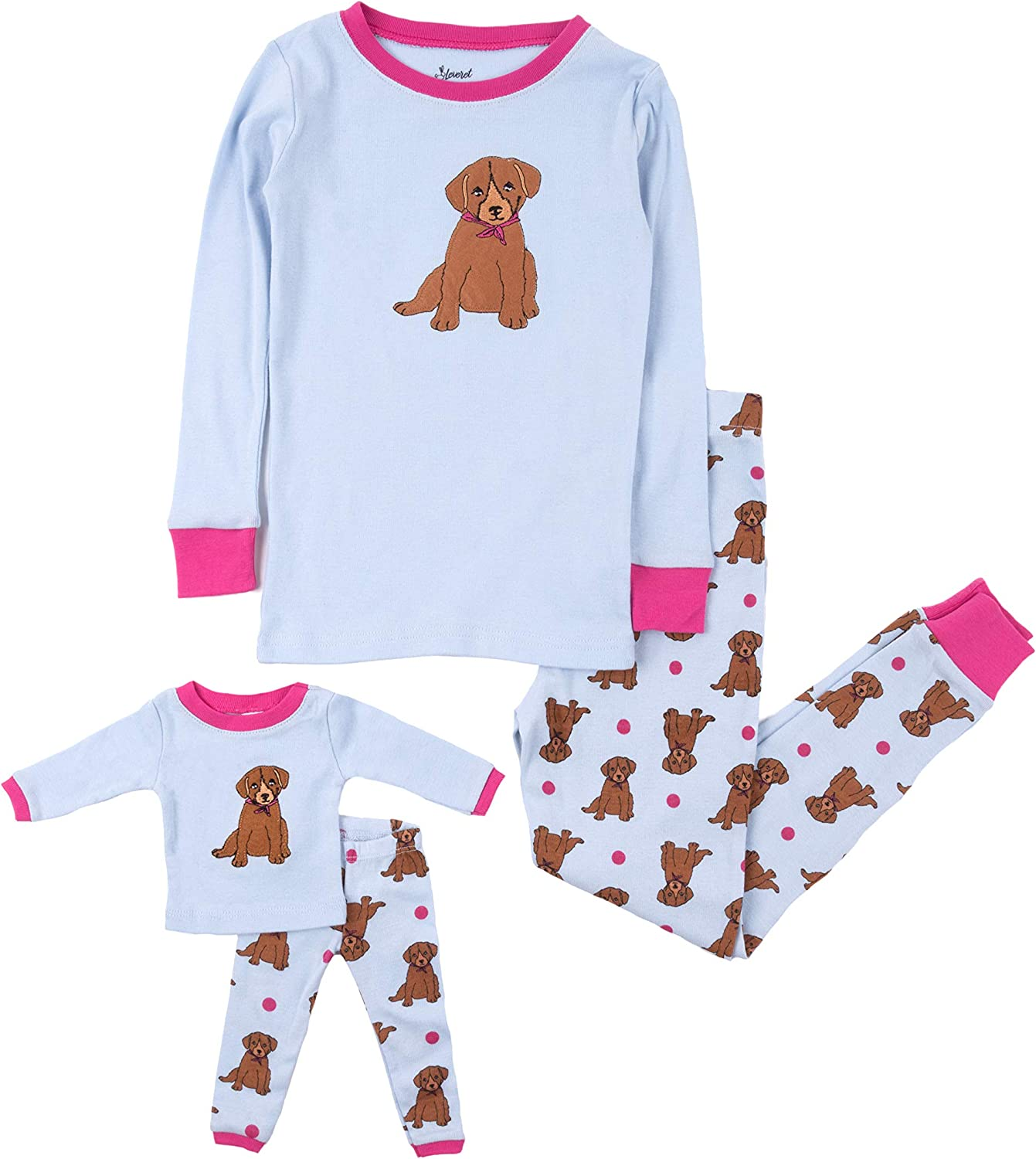 Size 2 Toddler-14 Years Leveret Kids /& Toddler Pajamas Matching Doll /& Girls Pajamas 100/% Cotton 2 Piece Pjs Set