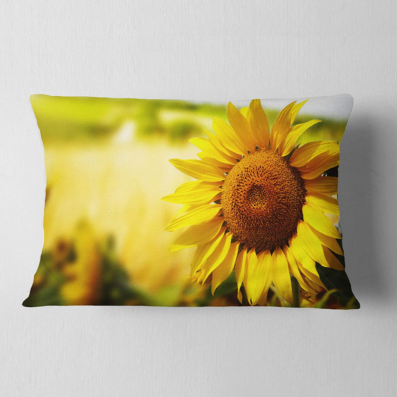 Designart CU14038-12-20 Beautiful Tuscany Sunflower Floral Lumbar Cushion Cover for Living Room Sofa Throw Pillow 12 x 20