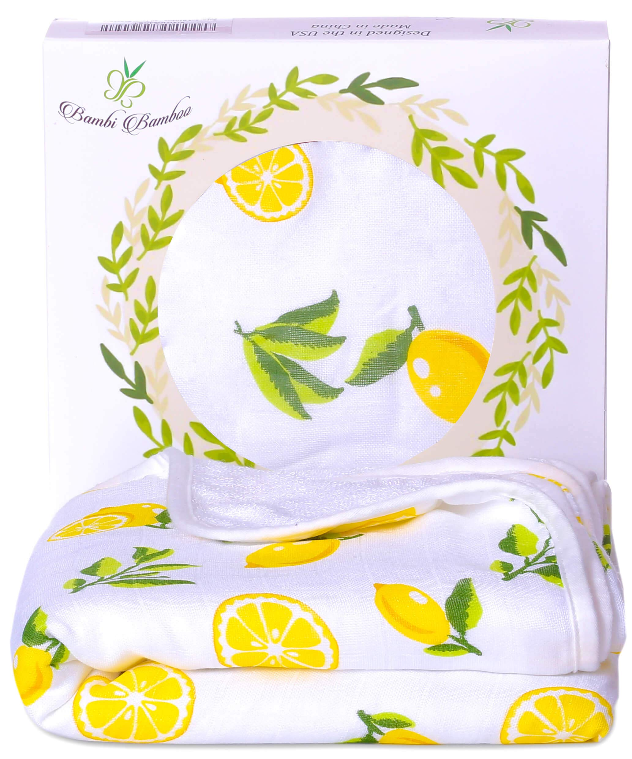 Bambi Bamboo Hooded Baby Bath Towel - Luxury Spa Super Soft for Sensitive Skin - Lemon, 2 Layers, Reversible - Absorbent, Keep Dry&Warm-Antibacterial,Hypoallergenic- Your Shower Registry Gift by Bambi Bamboo