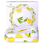 Bambi Bamboo Hooded Baby Bath Towel - Luxury Spa Super Soft for Sensitive Skin - Lemon, 2 Layers, Reversible - Absorbent, Keep Dry&Warm-Antibacterial,Hypoallergenic- Your Shower Registry Gift