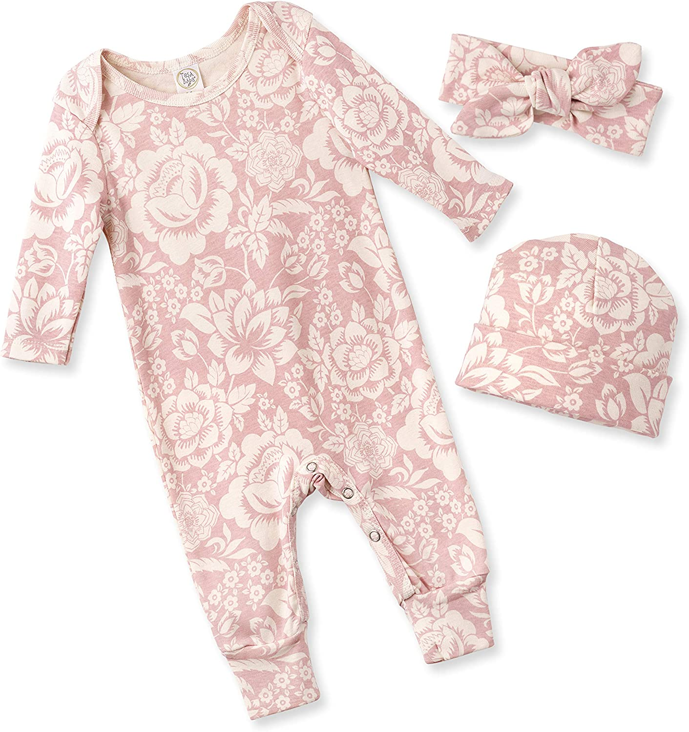 Tesa Babe Spring Floral Romper & Headband + Hat Set for Newborns, Baby Girls & Toddlers, Multi