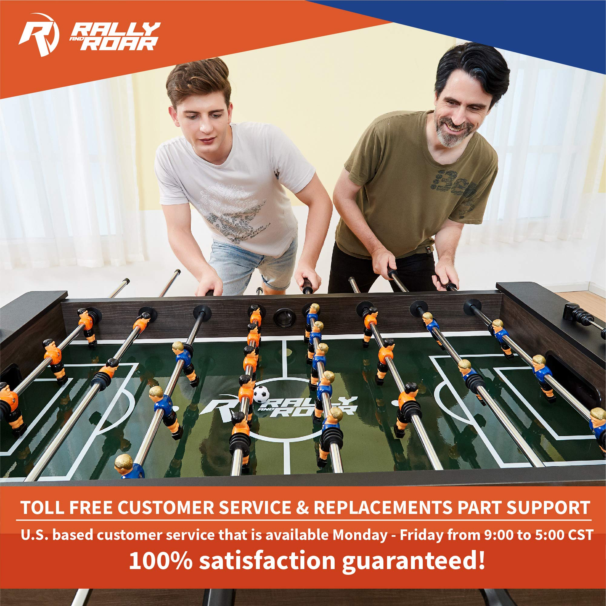 """Rally and Roar Foosball Table Game – 56"""" Standard Size Fun, Multi Person Table Soccer Adults, Kids - Recreational Foosball Games Game Rooms, Arcades, Bars, Parties, Family Night by Rally and Roar (Image #7)"""