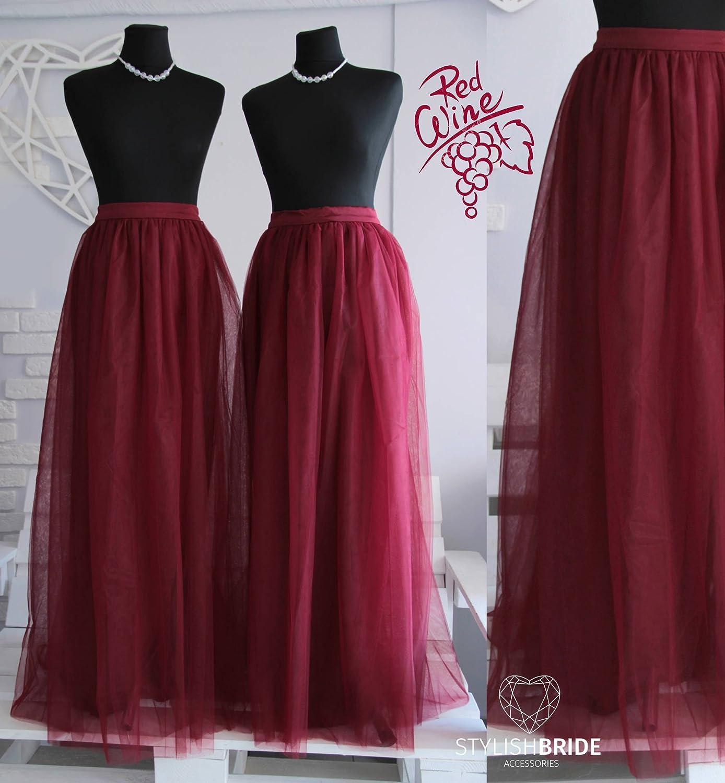 Wine #50 Bridesmaids Tulle Skirt Long Floor Length, Tulle Skirt Wedding Long Dark Red Tulle Dress