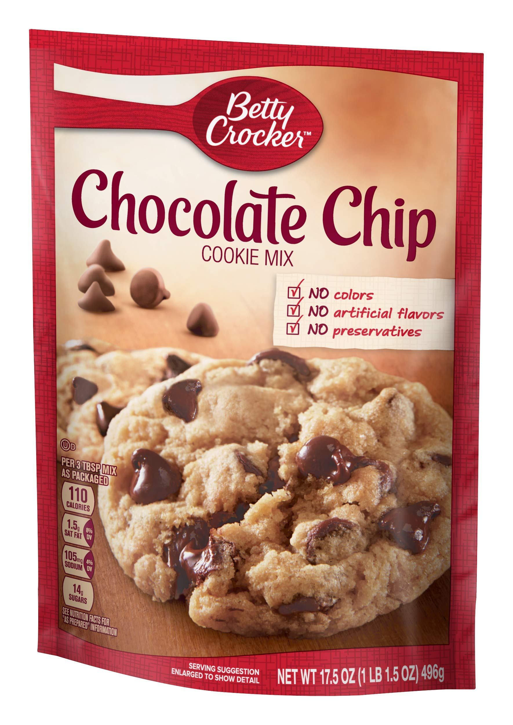 Betty Crocker Cookie Mix, Chocolate Chip, 17.5 oz Pouch (Pack of 12)