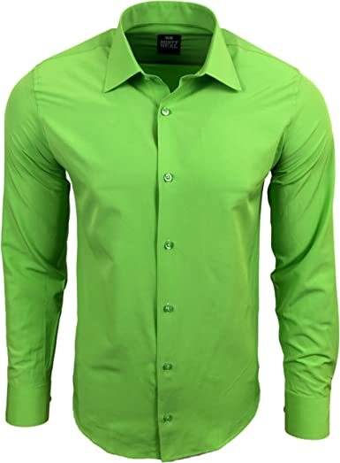 Rusty Neal R de 55 Hombre Camisa Business camisas boda Tiempo Libre Slim Fit manga larga Uni verde