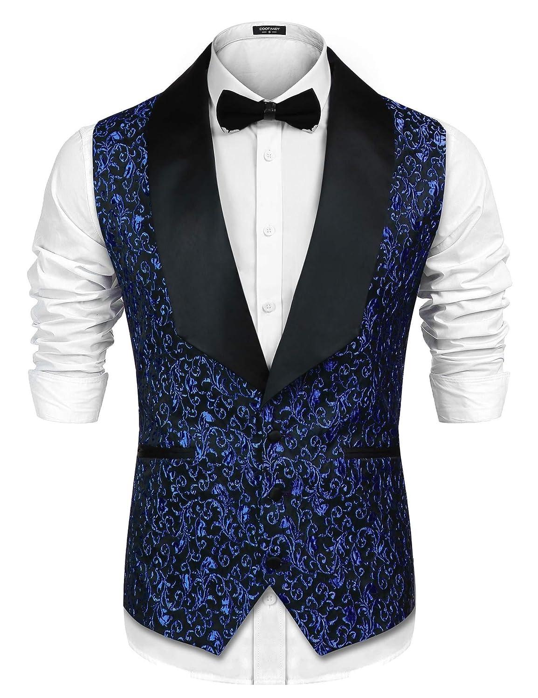 COOFANDY Men Floral Party Tuxedo Vest V-Neck Slim Fit Dress Suit Vest Waistcoat ETJ007203
