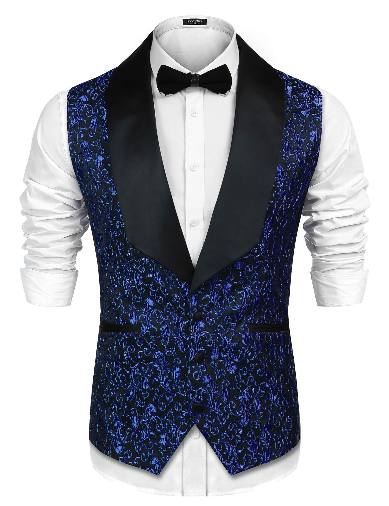COOFANDY Men's Paisley Embroidery Dress Tuxedo Vest Wedding Formal Waistcoat