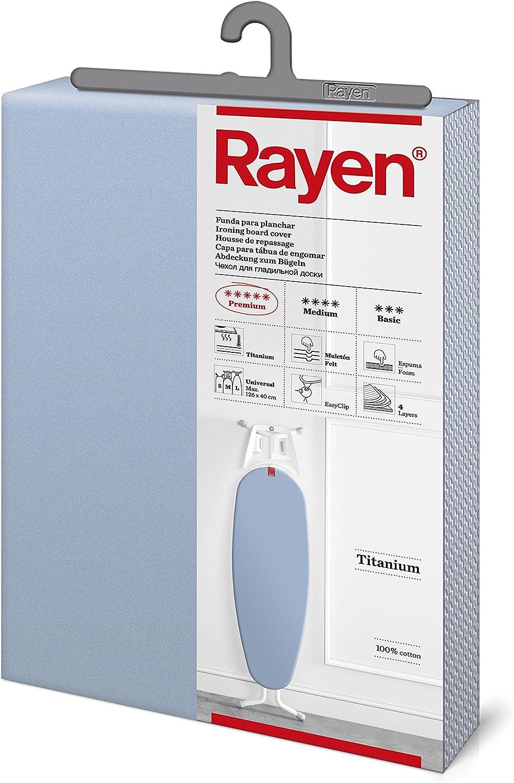 Rayen - Funda para tabla de planchar Universal acolchada Sistema EasyClip, 130x47 cm, Azul