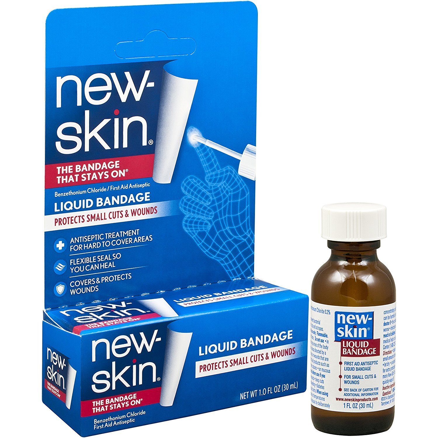 New-Skin Liquid Bandage 1.0 FL OZ, Liquid Bandage for Hard-to-Cover Cuts, Scrapes, Wounds, Calluses, and Dry, Cracked Skin (.4 Pack(1 FL OZ))