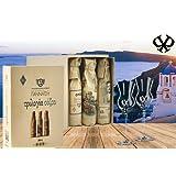 3er Geschenkset Ouzo | Das Luxus Geschenk für Griechenland Fans | aus der Wiege des Ouzos Lesbos | Vintage Geschenkverpackung | inkl. 2 original Gläsern